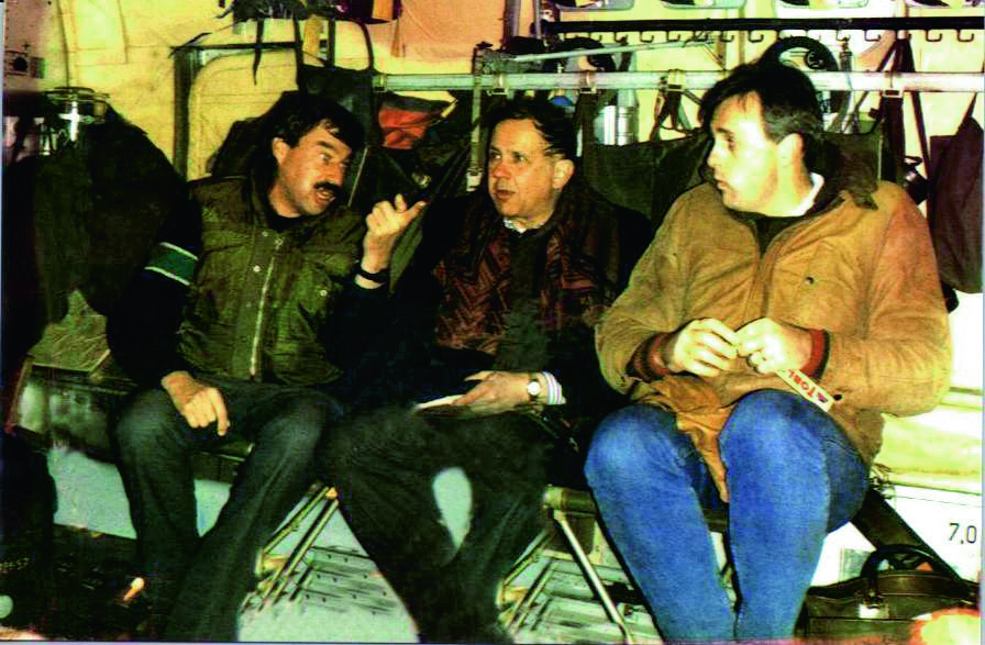 Left to right: Lionel Rosenblatt, then head of Refugees International, Mort Abramowitz and Mark Malloch Brown, at Sarajevo airport moments before coming up with the concept of Crisis Group, January 1993.