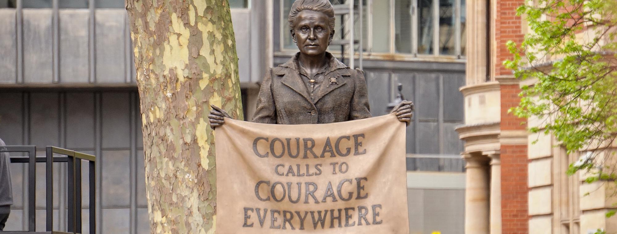 Statue of British suffragist Millicent Fawcett in Parliament Square, London, England