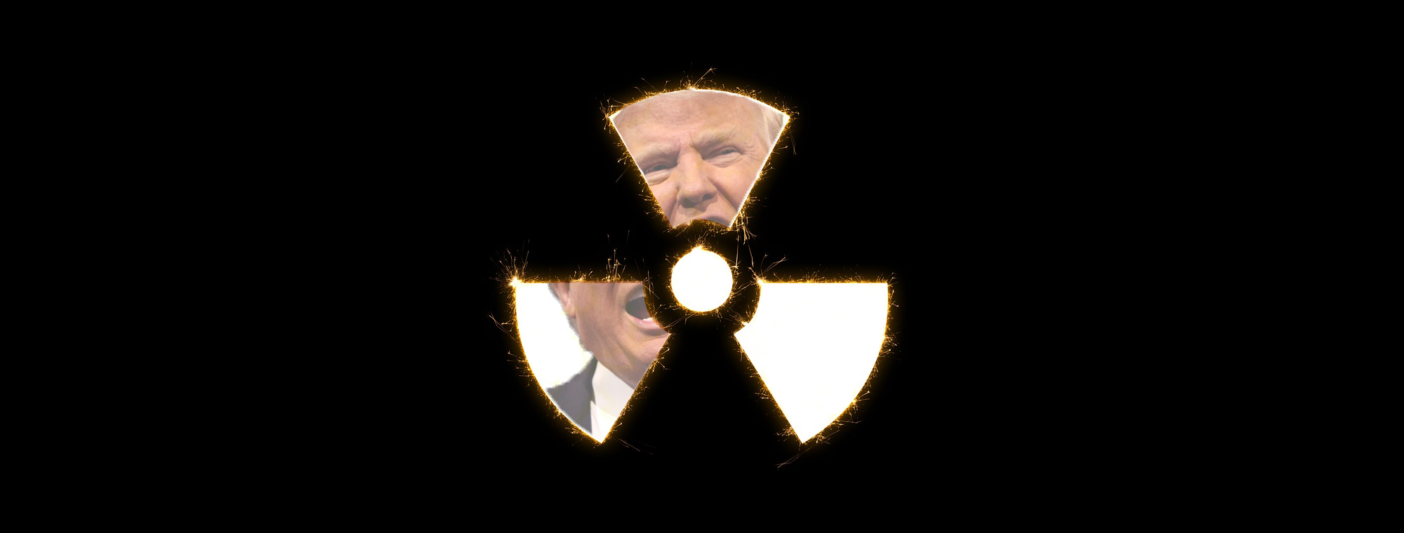 President Trump and radioactive hazard composite image
