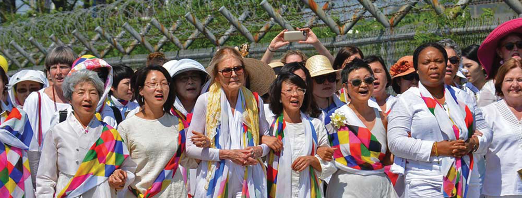 Women crossing the DMZ in 2015, South Korea. Image: Women Cross DMZ