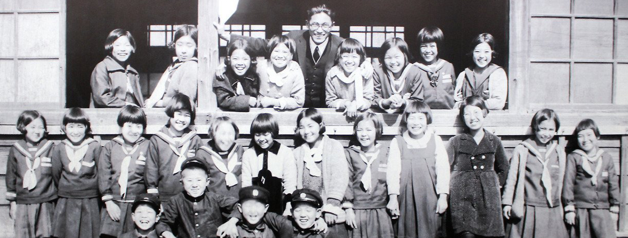 Teacher and students of the Noboricho Elementary School, located 0.7 mi / 1.1 km from ground zero