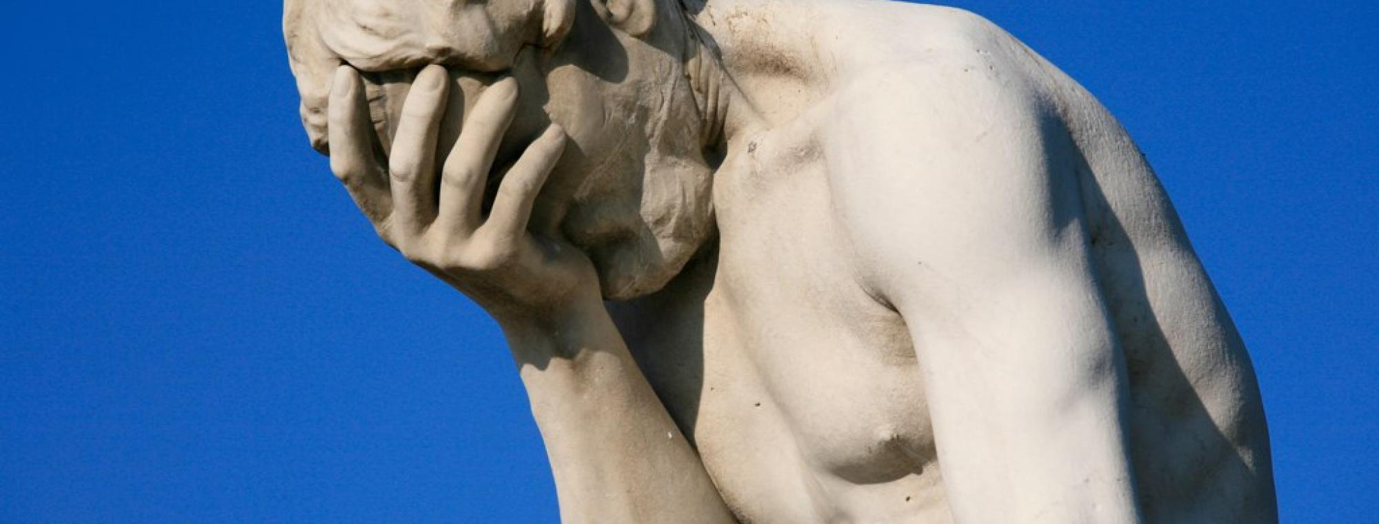 Paris Tuileries Garden Facepalm statue. This image was originally posted to Flickr by Alex E. Proimos